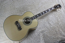 Free Shipping New Arrival Dot Spruce Beige Electric Acoustic Guitar WITH fishman pickup  140401