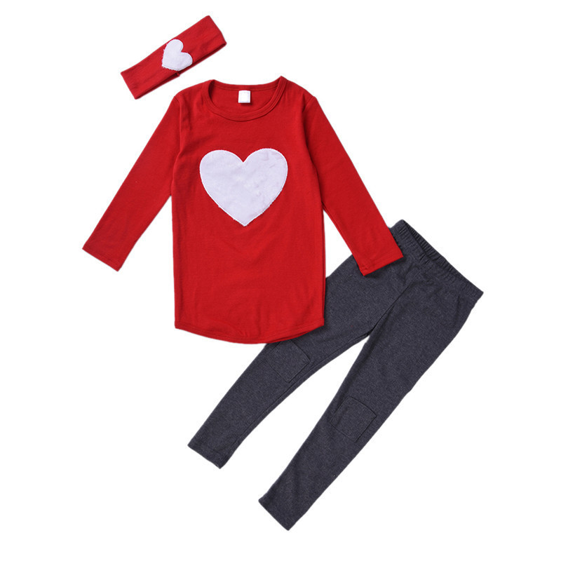 3piece/set Hair Band/Long Sleeve T-Shirts/Pants Childrens Clothing Sets Girls Clothes Suits Pink Red Heart Pattern 3-6Years<br><br>Aliexpress