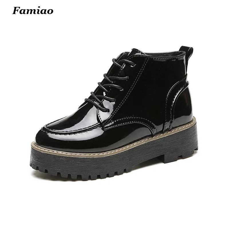 New 2017 Autumn Winter British styl Patent Leather Shoes Female Martin Leisure Europe Comfortable Platform Ladies Ankle Boots<br><br>Aliexpress