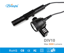 Brinyte DIV10 LED Diving Light CREE XML2 3000lm LED Scuba Diving Torch Flashlight 200M Underwater 3*26650 Batteries Lamp