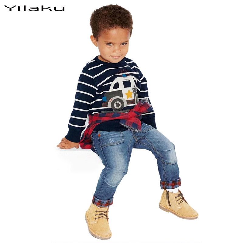2017 New Brand Spring Autumn Baby Boy Clothing Sets Boys Long sleeve Cartoon Striped Hoodie+Jeans Pants Kids Clothes Set CF392<br><br>Aliexpress