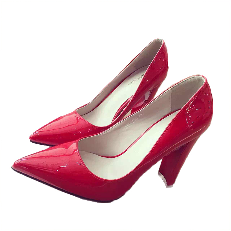 2017 Women New Shoes Pointed Patent Leather Pink Black Red Pumps Designer Shoes Womens Thick High Heel Shoes 10.5cm<br><br>Aliexpress