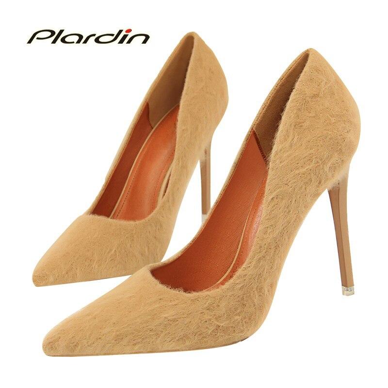 plardin 2018 Four Seasons Woman Fashion Concise Party sexy high heels Shoes Faux Fur nightclub women Pumps ladies shoes<br>