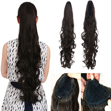 1PC Clip In Ponytail Hair Extension Soft Natural Pony Tail 70cm Long Wavy Curly Hairpieces Synthetic Ponytails P007