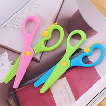 New 1 Pcs 137mm Mini Safety Round Head Plastic Scissors Student Kids Paper Cutting Minions Supplies for Kindergarten School