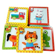 Color Random 3D Magnetic Wooden Puzzle Jigsaw Puzzle For Children Early Education Cartoon Animals Puzzles Table Kids Games 1PCS(China)