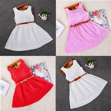 Baby Girl clothes Princess Lace Floral Summer Dress Sleeveless Dress Kids Party Dress with belt