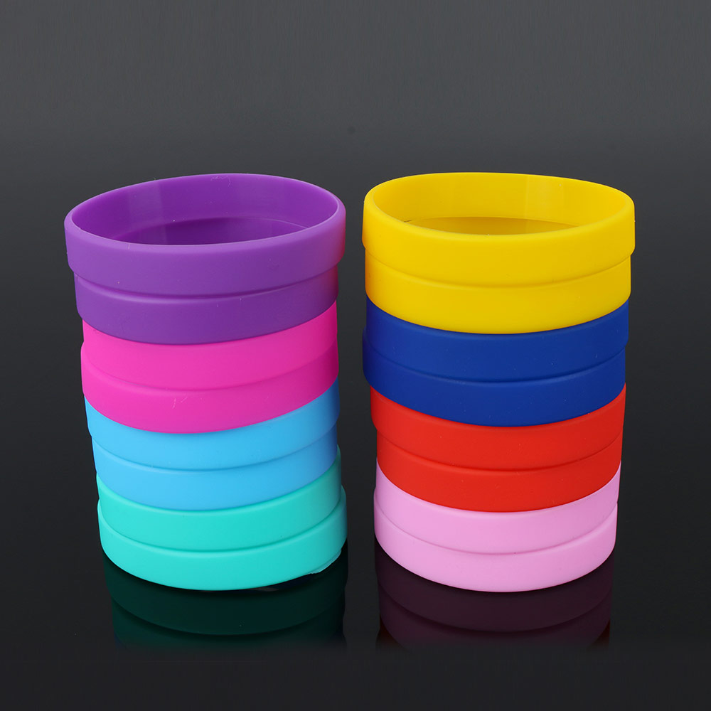 YYW New Unisex Trendy Colorful Silicone Rubber Flexible Wristband Wrist Band Cuff Bracelet Bangle Women Men Sports Bracelet