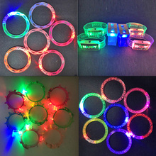 2017 Costume Leds 10pcs Colorful Changing Led Bracelet Light Up Flashing Glowing Toys Festive Event Party Decoration Supplies
