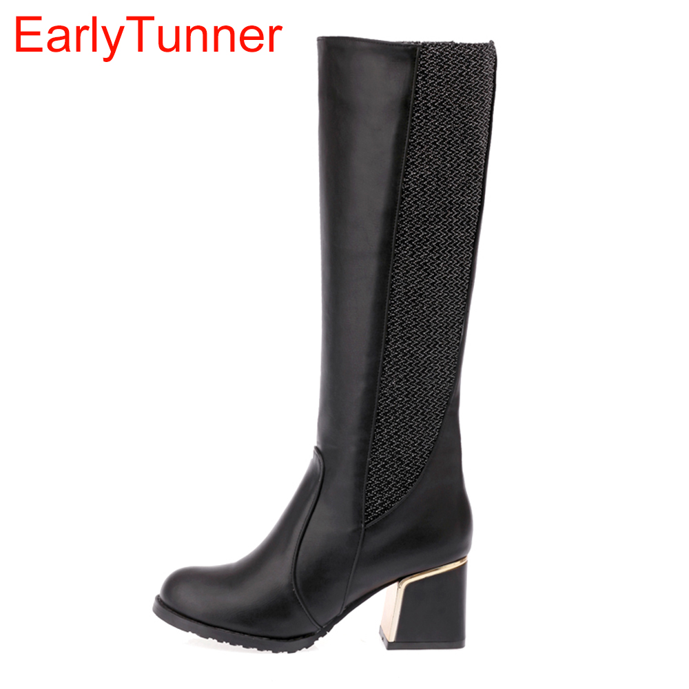 Sale Brand New Sweet Black Red White Blue Women Nude Riding Boots Ladies Motorcycle Shoes Heels AB9 Plus Big Size 28 52 10 14<br>