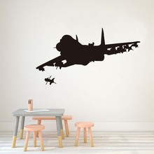 Two Jet Fighter Plane Wall Stickers Home Decor For Living Room Removable Firing Airplane Art Decals Home Decoration Accessories(China)