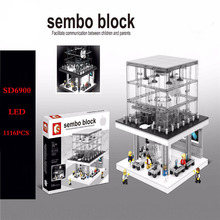 1116pcs SD6900 LED Blocks Apple Flagship Store Street Scenery Building Mini Model Blocks Compatible with 008