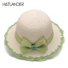 Hatlander toddler sun hat for kids visor caps children casual solid baby girls silk bow summer paper straw beach bucket sun hats