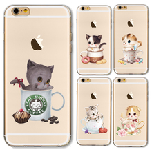 Soft TPU Case Cover For Apple iPhone 4 4S 5 5S SE 5C 6 6S Plus + Cases Hot Sale Ultra Thin Transparent Cup Cat In The Tea Cup
