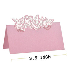 12pcs/lot Pink Laser Cut Butterfly Name Place Card  Table Card Wine Food Mark Guest Birthday Banquet Party Wedding Favors Decor