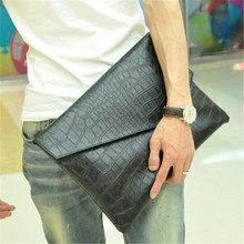 New Korean version of the trend of men's crocodile pattern bag business A4 file bags envelope bag hand bag men Day Clutches