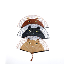 New Year Decor Vintage Japanese Bamboo Silk Hand Fan Cartoon Cat Painted Folding Fan Craft Xmas Christmas Gift 21x38cm(China)