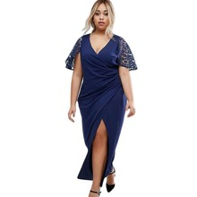 Women Summer maxi dress plus size XXXL 2017 wrap front navy blue lace sleeve slit sexy casual girls dresses large sizes Q61439(China)