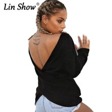 LINSHOW Sexy Backless Knitted Women Sweaters Deep V Loose Oversize Crochet Pullovers Winter Warm Casual Black Ladies Knitwear