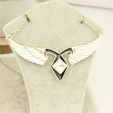 Movie Jewelry Series City Of Bones Necklace Angels Force The Mortal Instruments Rhinestone Wing Pendant Necklace For souvenirs(China)