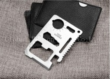 100pc NEW 11 in 1 Wallet Knife Stainless Steel Survival Multitool Utility Tool for Camping Hiking Survival E2(China)