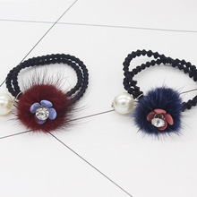 1 PC Color Random Furry Ball with Flowers Leaves Imitation Pearl Elastic Hair Bands Girls Hair accessories Headbands(China)