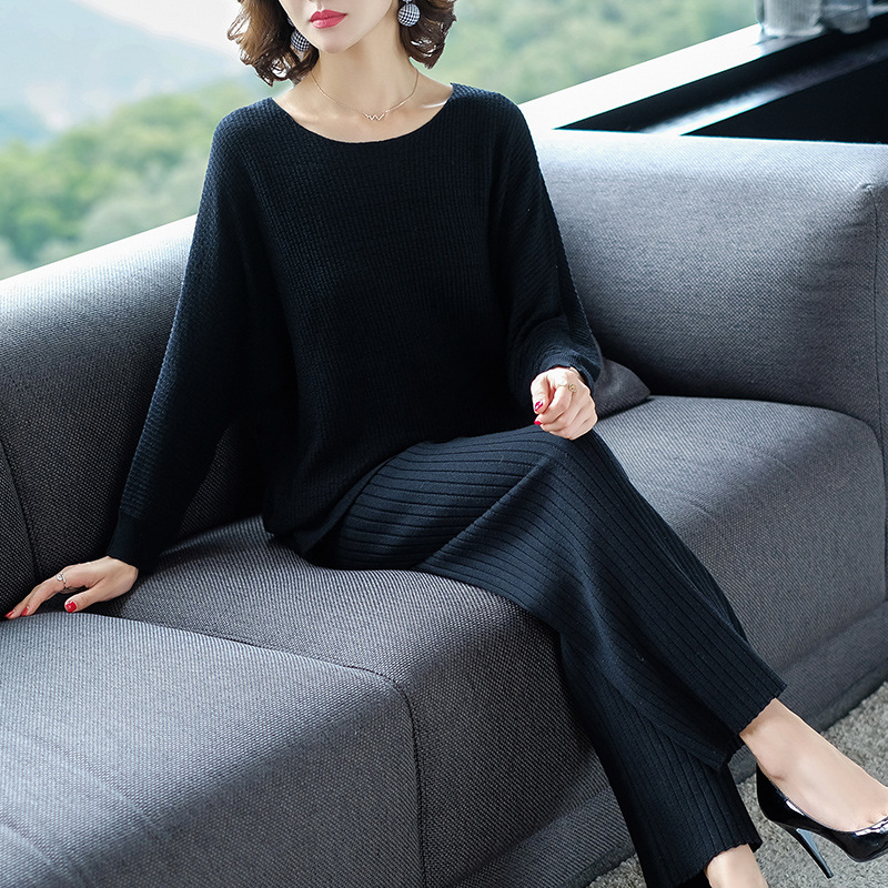 Ladies 2019 Spring Autumn Knit Sweater Suit Set 2 Pieces Women Sweater Pullover Pants High Waist Knitted Suit Female Knitwear