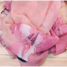 2017 New Women Chiffon Floral Printed Designer Scarf Summer Beach Gradient Plaid Flower Casual Silk Scarves Long Wrap