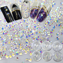 New AB Color Transparent Shiny 3D Nail Art Decoration Flat Back Rhinestone Mini Shape Glitter Gem Different Size LANC395