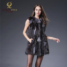 Natural Real Fox Fur Coat New Genuine Fox Fur Medium Long Waistcoat Pocket Russian Winter Long Fox Fur Vest Fashion Jacket QS-90(China)