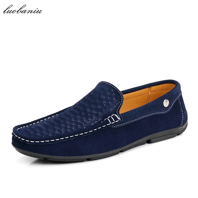 Snake Style Suede Shoes Men Loafers Soft Moccasins Men Shoes Casual Driving Slip On High Quality<br>