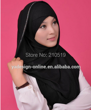 FA002 Newest black COTTON islamic scarf hijab beading BIG LONG MUSLIM one piece HIJAB