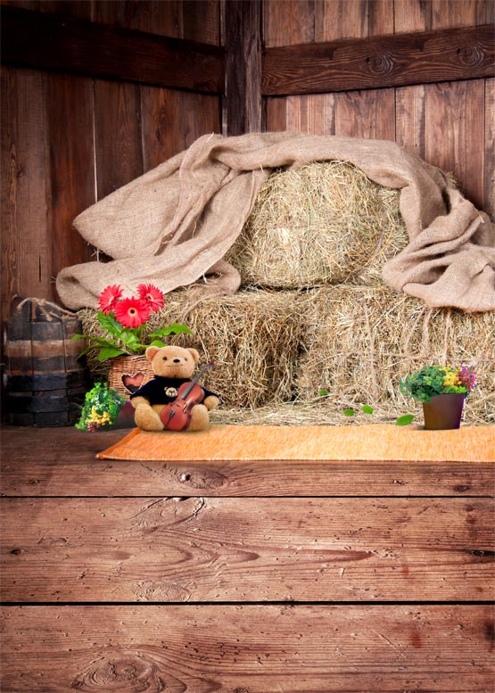 Pink wooden house with straw photography backdrops vinyl photo background for photo studio background for baby photo shoot S-832<br>