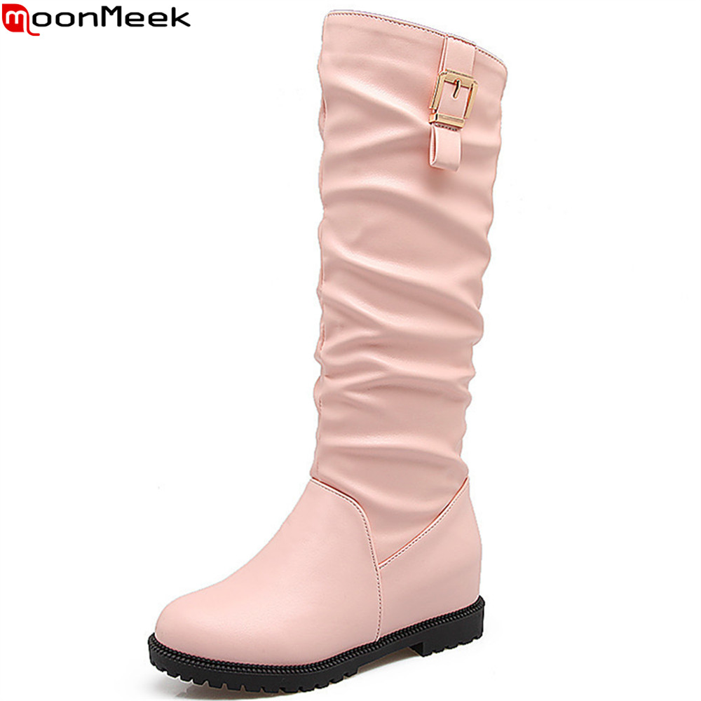 MookMeek fashion pink black white women boots height increasing autumn winter buckle ladies boots round toe high knee boots<br>