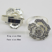 6pcs Silver color Napkin Rings Luxury Rhinestone Napkin Rings for Weddings Party Decorations Table Decoration Accessories