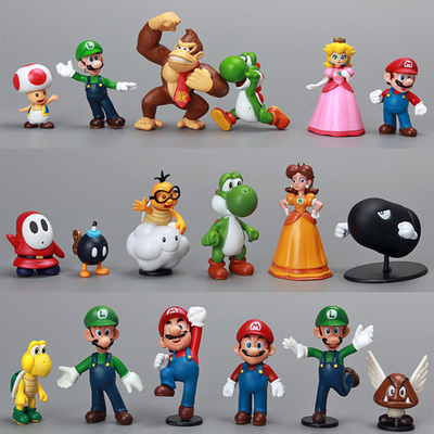 18pcs/Set Super Mario Bros1-2.5 Action figures Toys Yoshi Dinosaur Peach Toad Goomba PVC Doll<br><br>Aliexpress