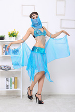 Sexy Adult Women India Egyptian Belly Dance Dress Halloween Nightclub Costume Paillette Bra/Skirt/Veil/Shawl/G-string