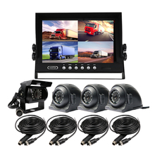 "FREE SHIPPING 4Pin 4CH 9"" Quad Split Car Reverse Monitor + 4pcs Rear Front Side View Car Duty Metal Cameras System for Truck Bus(China)"