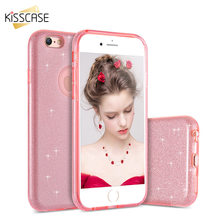 KISSCASE For iPhone 5s 5 SE Case Luxury Glitter PC Case For iPhone SE 5 5s 6 6s 6 Plus Bling Hard Back Protective Cover Capa(China)