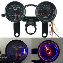 Iztoss12V Motorcycle scooter black led Odometer Speedometer gauge and 13000RPM Tachometer for Cafe Racer Suzuki Honda Kawasaki(China)