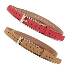 New Women's Belt PU Leather Skinny Thin Narrow Buckle Waist Belt Waistband Strap
