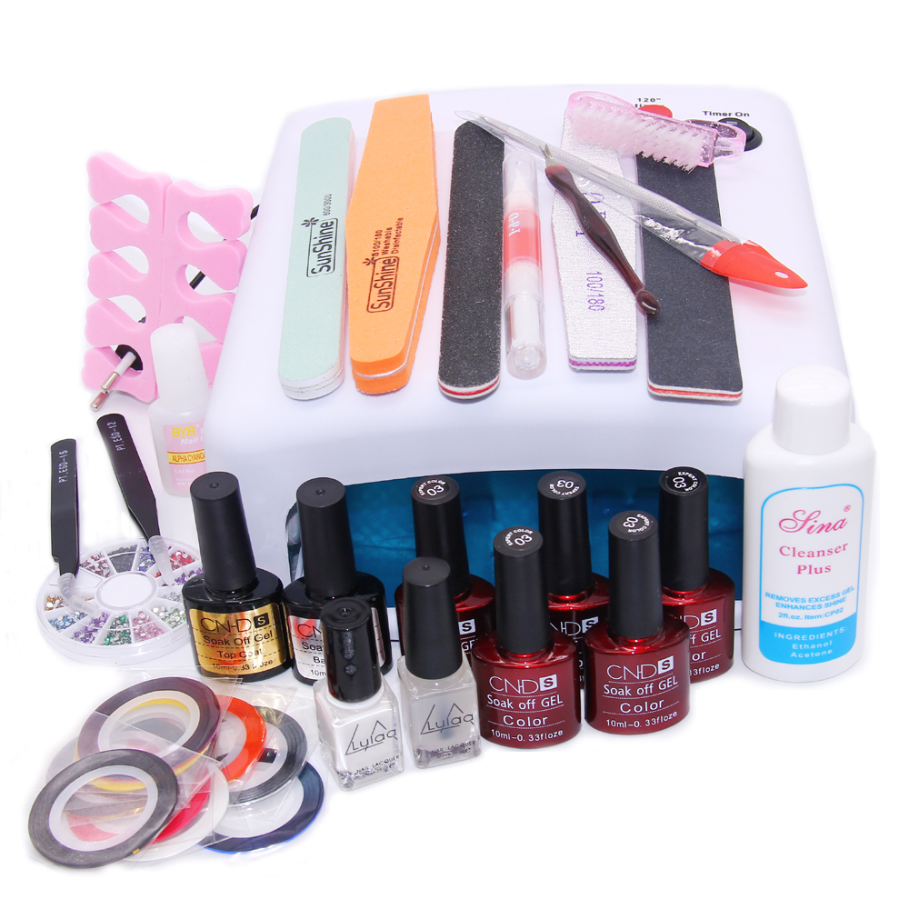 Nail Art Manicure Tools 36W UV Lamp With 7.5ml Gel Nail Polish Base Gel Top Coat Polishs for Practice Set  UV Glue Nail DIY Kits<br><br>Aliexpress