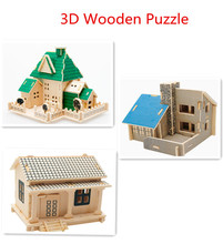 New wooden toy 3 D wooden House Puzzle house scale models 3piece/lot  Free shipping