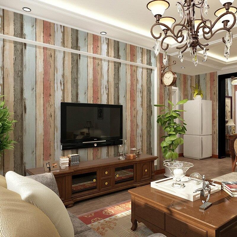 Beibehang Mediterranean style Retro Imitation Wooden Wallpaper Bedroom Living Room Bar Shop Background Wallpaper papel de parede<br>