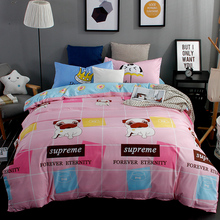 XINLANISNOW New Pink Printed Cute Pug Bedding Sets Bed Set Quilt Duvet Cover Pillowcase Excellent Cotton Queen Full Bedclothes