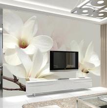 Custom Photo Mural Wallpaper Modern Fashion Lily Flower 3D White Magnolia Flower Wall Painting Living Room Wall Murals Wallpaper
