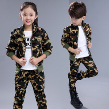 European Style Children Camouflage Clothing Set 2017 Spring Fall Boys Fashion Cotton Military Uniform Kids Sport Suit 2 Pcs G301