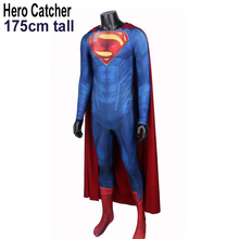 Hero Catcher 175cm Tall Man Of Steel Costume Superman Suit With Cape High Quality Muscle Shadding Supderman Costume For Male(China)