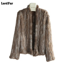 (Lord Fur) Lady Real Knitted Rabbit Fur Jacket Coat V Collar Autumn Winter Genuine Women Fur Slim Outerwear Coats LF4010
