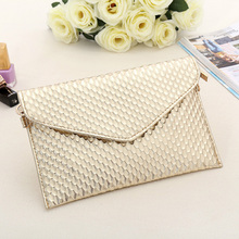 Envelope Day Clutch Women Leather Evening Tote Bags Handbag Change Purses Wallet Ladies Crossbody Messenger Shoulder Bag Golden(China)